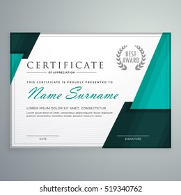 modern certificate design with abstract geometric shapes