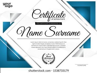 Modern Certificate Design Template with Blue Composition