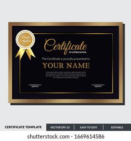 Modern certificate template of appreciation award. Creative certificate design in professional style. Diploma design graduation, award, success. Editable text in vector illustration.
