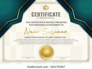 Modern certificate template with blue tosca dots halftone effect and gold line ornament on texture pattern background,