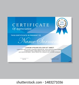 Modern certificate template design with blue color