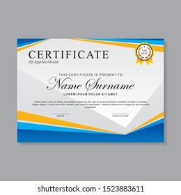 Modern certificate template design with blue, yellow and white color, suitable for business certificate or sport certificate