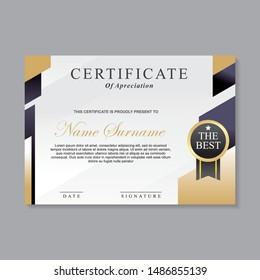 Modern certificate template design with gold, white and black color suitable for appreciation, diploma or award.