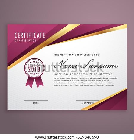 Modern Certificate Template Design Golden Stripes Stock Vector