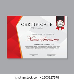 Modern certificate template design with red and white color