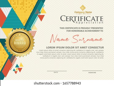 modern certificate template with geometric triangle with halftone on line ornament on pattern background.