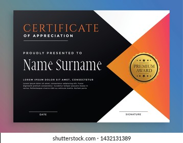 modern certificate template with golden badge