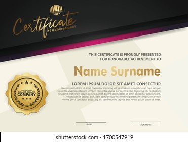 Modern certificate template with lines style effect on texture pattern background,