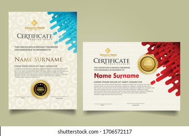Modern certificate template with mustard rounded lines halftone transition ornament. two set certificate. Vector background Illustration