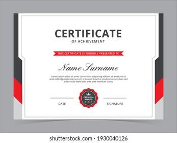 Modern Certificate Template Vector Design