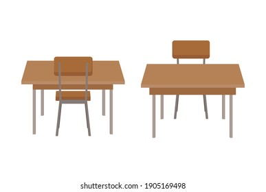 Modern chair and table set vector isolated on white background. Simple work desk with chair on back and front view. Office desk, classroom table or dinner table. Table for student or office worker