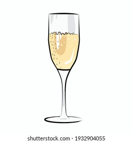 Modern champagne in a glass, great design for any purposes. Modern vector illustration. Greeting card illustration.  Shiny party background.