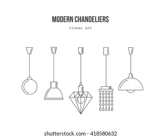 Modern chandeliers-vector linear set. Renovation interior symbols. Collection of simple ceiling lamps.