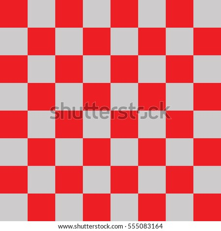 Modern Checkered Pattern Red And Gray Texture Chess Print