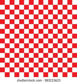 Modern Checkered Pattern Red And White Texture Chess Print