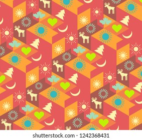modern cheerful colorful geometric background with Christmas symbols