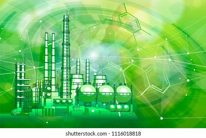 modern chemical manufacturing plant on a green technological background with a stylized digital wave - the concept of modern technology, the new industrial revolution & information technology / vector
