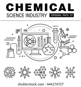 Modern chemical science industry. Thin line icons set biology technology. laboratory set collection with global industry elements. Premium quality vector symbol. Stroke pictogram for web design.