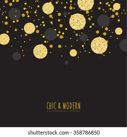 Modern Chic Black Gold Background Vector Design