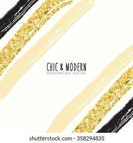 Modern Chic Black Gold Brush Vector Design