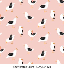 Modern childish seamless pattern with seagulls in vector. Cute cartoon seagulls.  Summer vacation. Good for print.