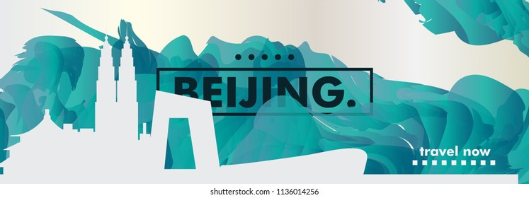 Modern China Beijing skyline abstract gradient website banner art. Travel guide cover city vector illustration
