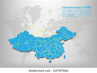 Modern of china Map connections network design, Best Internet Concept of china map business from concepts series, map point and line composition. Infographic map. Vector Illustration.