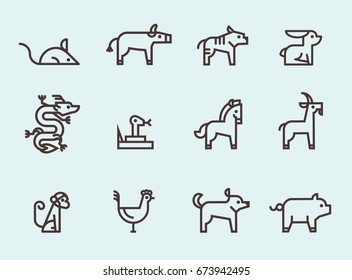 modern chinese zodiac animals icon set