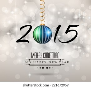 Modern Christmas Background with abstract geometric shapes for your 2015 Merry Christmas and Happy New Year Flyers, covers, posters and pages.