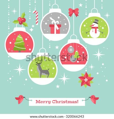 modern christmas card flat stylish design with decoration balls vector illustration - Modern Christmas Cards