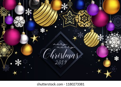 Modern Christmas composition with black background, golden decor and coloful balls