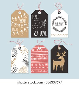 Modern Christmas gift tags with hand drawing elements. Vector illustration