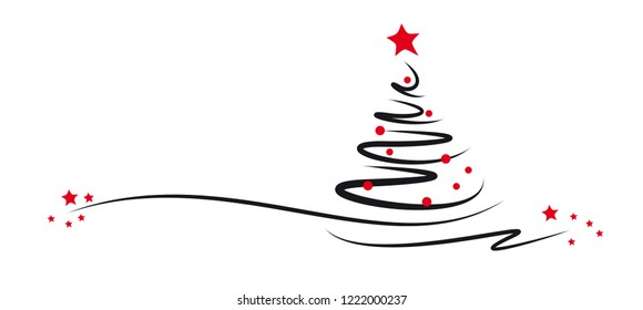 modern christmas tree - black lines - red stars and bowls