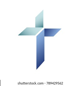 Modern church logo with with folded overlaying blue shapes and aqua teal gradients. Christian symbol for baptist or lutheran denomination