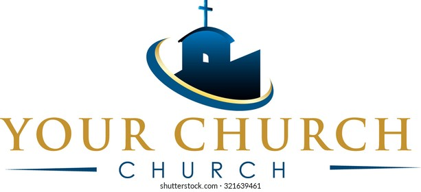 Modern church symbol or log in gold and blues