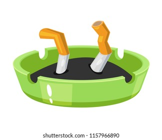 Modern cigarettes with a filter, a smoking cigar with tobacco, a concept of smoking, bad habits. Crumpled bulls, broken cigarettes and tobacco in an ashtray. Vector illustration isolated.