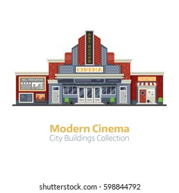 Modern cinema building facade isolated on white background. Movie theater exterior vector illustration. City culture and entertainment landmark with sign board and ticket office.