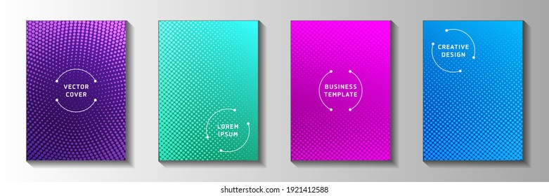 Modern circle faded screen tone title page templates vector collection. Digital flyer perforated screen tone patterns. Vintage manga comics style front page layouts. Rectangle albums.