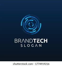 Modern Circle Tech Logo Design Template. Round Tech Digital Technology Logo Design Icon. Initial Letter O tech Logo Design Vector Stock. Ring Tech Logo