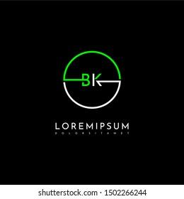 modern circle technology BK logo letter simple line symbol design concept