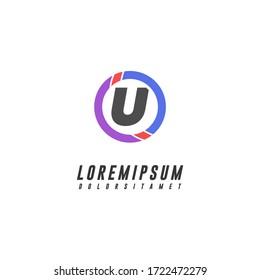 modern circle technology U logo. letter design concept