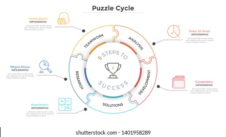 Modern circular diagram divided into 5 jigsaw puzzle pieces. Concept of five steps to business success. Linear infographic design template. Minimal vector illustration for presentation, brochure.