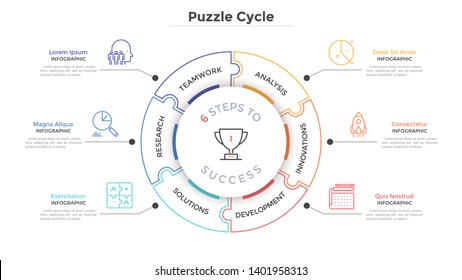 Modern circular diagram divided into 6 jigsaw puzzle pieces. Concept of six steps to business success. Linear infographic design template. Minimal vector illustration for presentation, brochure.