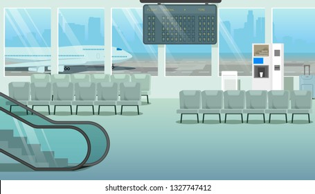 Modern City Airport Empty Hall or Waiting Room Cartoon Vector with Chairs, Escalator, Coffee Machine, Flights Timetable Board and Airliner Standing on Aerodrome Runaway Outside the Window Illustration