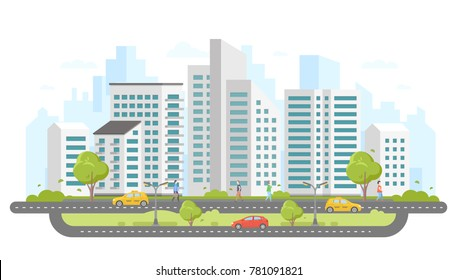 Modern city - colorful flat design style vector illustration