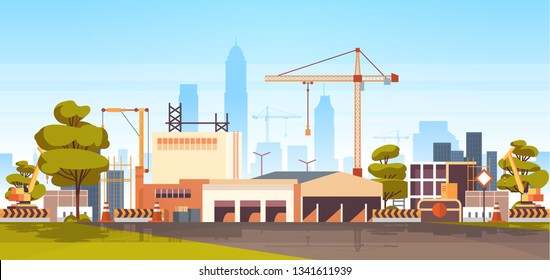 modern city construction site tower cranes building residential buildings cityscape skyline background flat horizontal banner