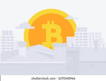 Modern City, and digital payment. Bitcoin icon rises up like sun in city. Vector flat style illustration