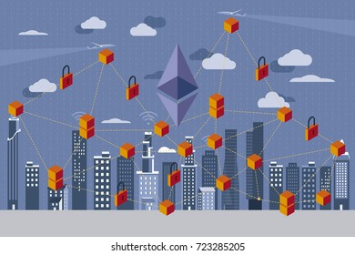 Modern City, and digital payment. Ethereum icon and Blockchain Revolution. Blockchain Concept.
