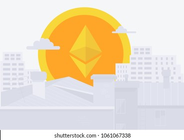 Modern City, and digital payment. Etherium icon rises up like sun in city. Vector flat style illustration