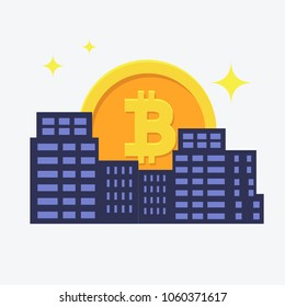 Modern City, and digital payment.Bitcoin icon rises up like sun in city. Vector flat style illustration
